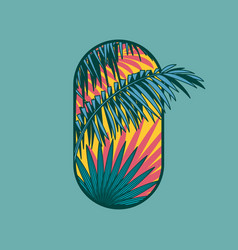 Tropical logo spa hotel emblem palm leaves vector