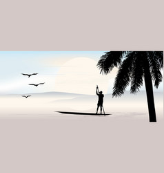 Tropical view with palm tree at sunset the vector