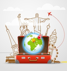 Vacation travelling composition with the red open vector image