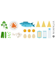 vitamin d foods flat icons set with milk fish vector image