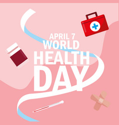 World health day card with bottle medicines and vector