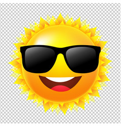 Yellow sun with sunglasses vector