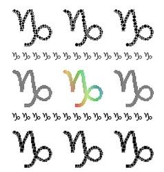 Zodiac sign capricorn set vector