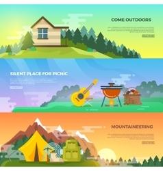 Camping flat banner set vector image