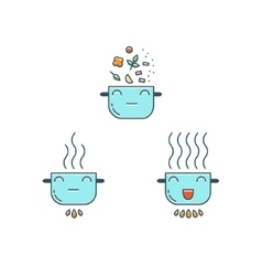 Cooking thin line icons set Cute Pot icon vector image vector image