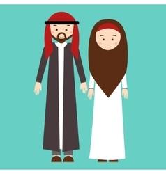 couple man woman wearing arab arabic traditional vector image