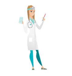 Doctor holding thermometer and plate of pills vector