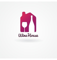 Logo or label design for wine winery or wine vector image