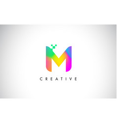 m colorful logo letter design creative rainbow vector image vector image