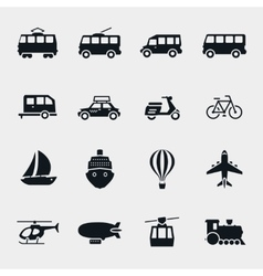 monochrome transport and vehicle icons vector image vector image