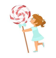 beautiful little girl with huge lollipop a vector image
