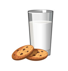 biscuits cookie and glass of milk vector image vector image