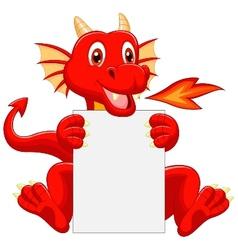 Cute dragon cartoon holding blank sign vector image vector image