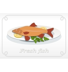 Fish with fins on plate lemon and parsley icon vector