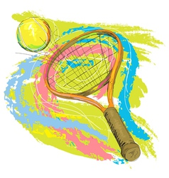 hand drawn of tennis racket vector image