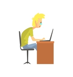 Programmer Student Working On Lap Top Funny vector image