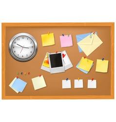 clock office supplies on brown desk vector image vector image