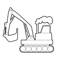Excavator icon outline style vector