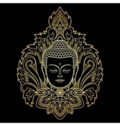 Gold Buddha Head on Floral Background vector image vector image