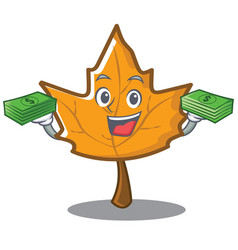With money maple character cartoon style vector