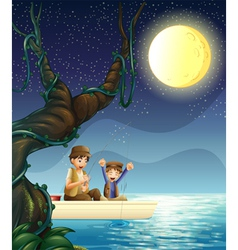 A father and child fishing vector image