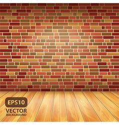 brick wall wood floor vector image