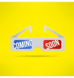 cinema 3d glasses with coming soon text vector image vector image