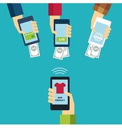 mobile e-commerce concept flat design vector image vector image
