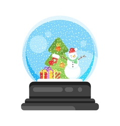 new year and xmas glass ball with snowman vector image