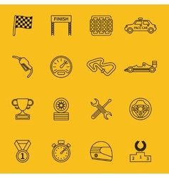 Race flag and line racing icons vector