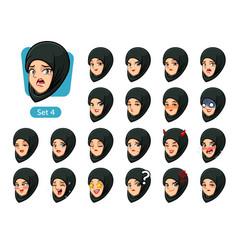 the fourth set of muslim woman cartoon avatars vector image vector image
