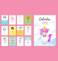 2018 year calendar with animals vector image