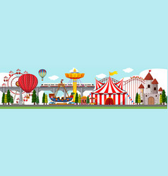A amusement park scene vector