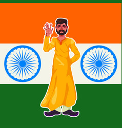 A bearded indian man stands in traditional clothes vector