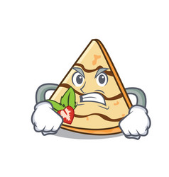 Angry crepe mascot cartoon style vector