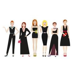 Attractive women in elegant black dresses vector