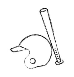 baseball bat and helmet equipment isolated icon vector image