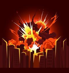 Bomb explosion city composition vector