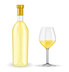 Bottle of white wine with glass vector