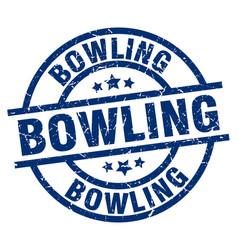 Bowling blue round grunge stamp vector