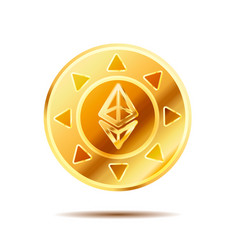 Bright glossy golden coin with ethereum sign on vector