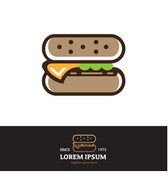 Burger symbol outline style vector