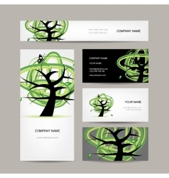 Business cards design green tree vector