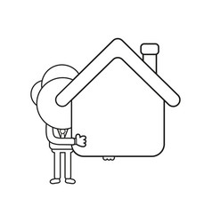 Businessman character holding house black outline vector