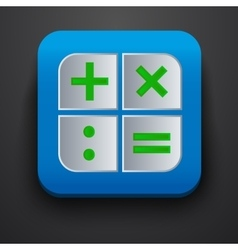 Calculator symbol icon on blue vector