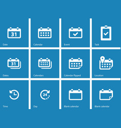 Calendar icons on blue background vector image