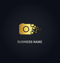 camera photo digital gold logo vector image