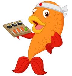 Cartoon chef fish holding sushi vector image