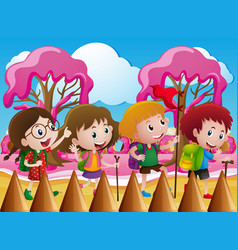 Children hiking in candy world vector