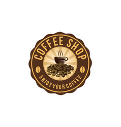 coffee cup a pile of coffee bean coffee shop logo vector image